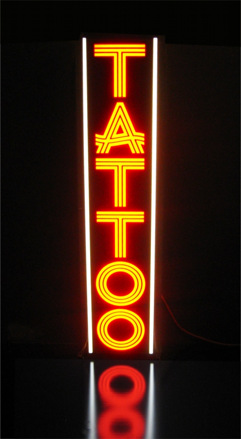 New tattoo parlor light box business sign bright as neon for Neon tattoo signs